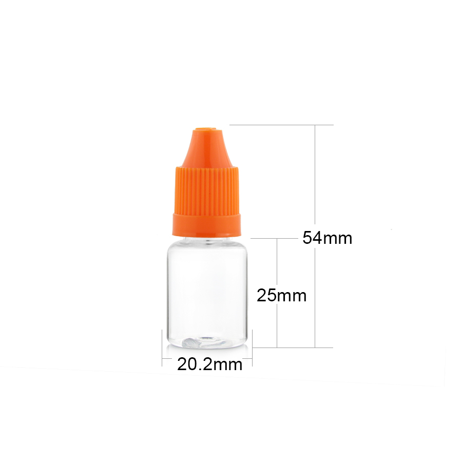 5ml pet e-cig liquid bottles with long thin tip for essential oil