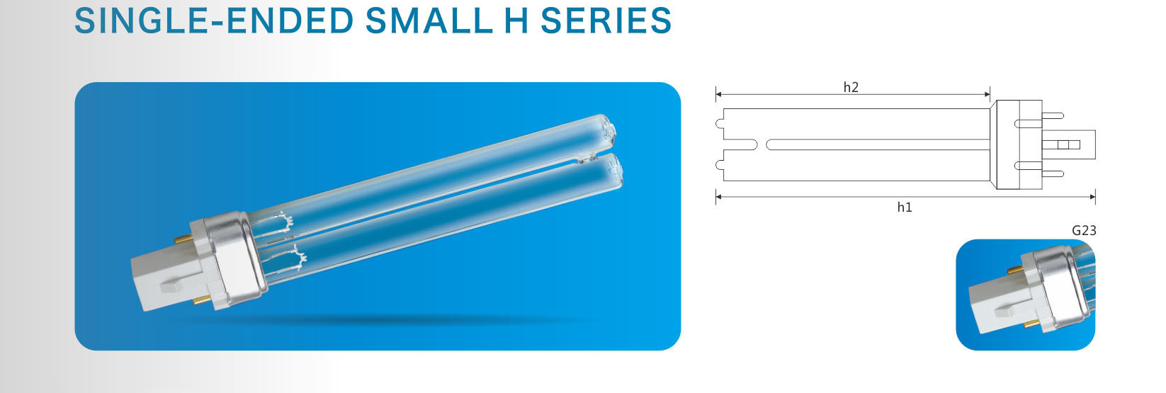 Single-ended small H series ultraviolet disinfection lamps for aquatic animals