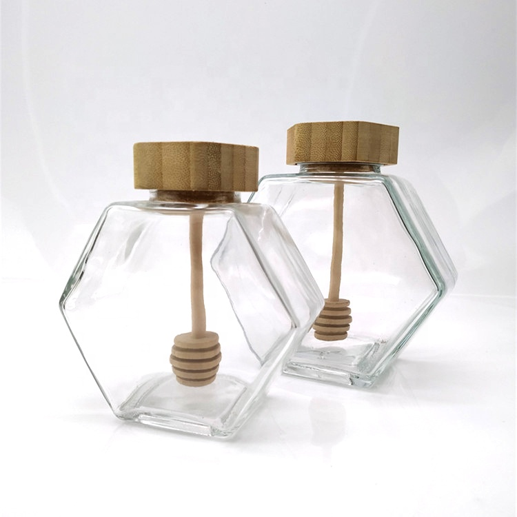 High quality luxury hexagon empty glass honey jar with dipper