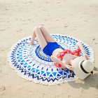 High quality round printed with tassels microfiber beach towel