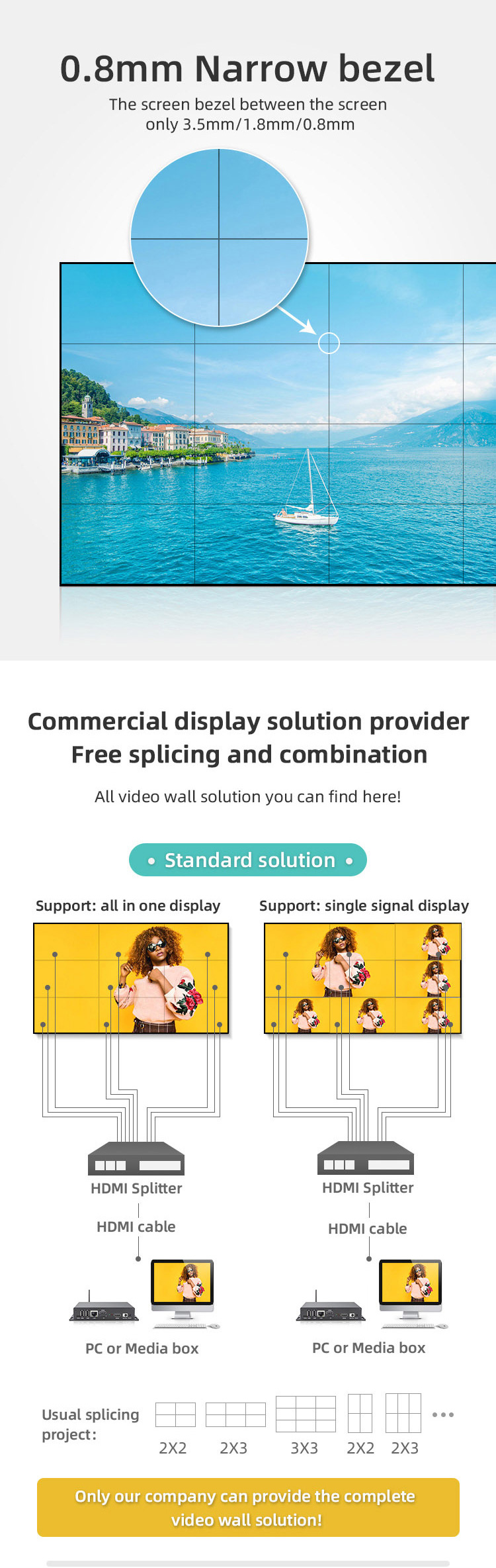 Full Hd Digital Signage Led 4K Uhd 55 Inch Lcd Video Wall For Station