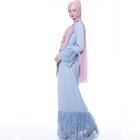 Moroccan Kaftan Dress Abaya Jilbab 2019 New Faux Hemp Bud Silk Lace-Up Dress Lotus Leaf Sleeve Muslim Robe Woman Abaya Dress