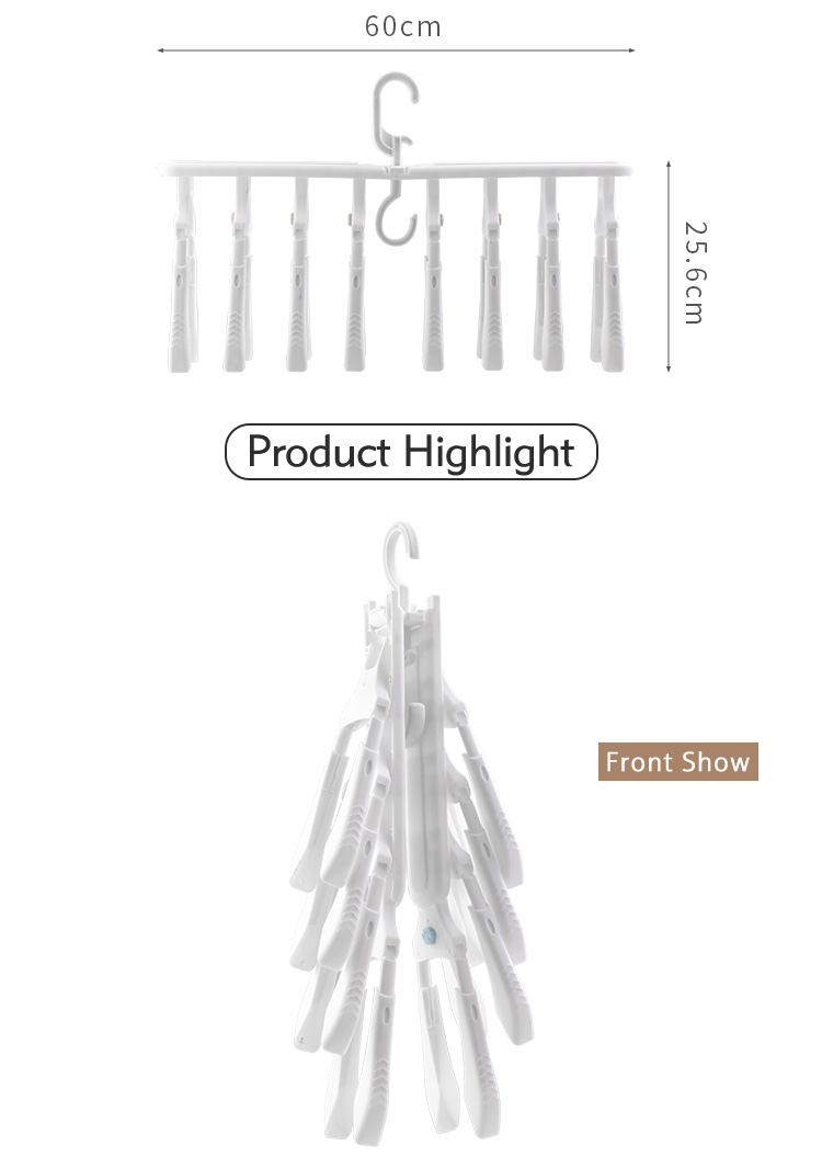 Saving Space Multifunction Rotating Cascading Plastic  Foldable Clothes Hanger