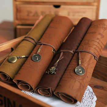 Roll Foldable Leather Pencil Case