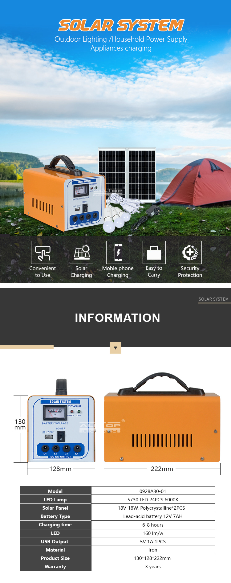 ALLTOP High quality energy saving led chip solar home adjustable angles 30w solar power system