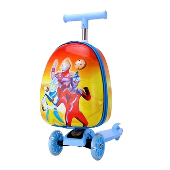 three wheel kids scooter3D trolley children kid scooter suitcase trolley luggage bag with customized scooter