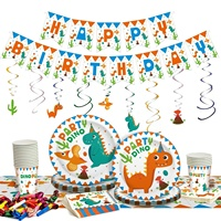 Custom dinosaur birthday party supplies for kids dinosaur party pack spoons forks plates set
