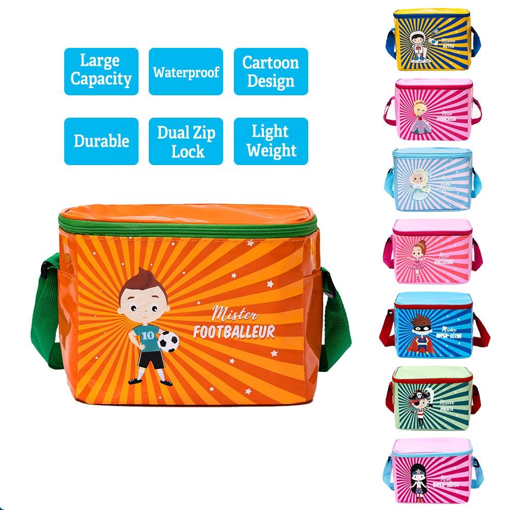 Toptan özelleştirilmiş karikatür çocuk öğle yemeği çantası çocuklar soğutucu çanta baskı ile