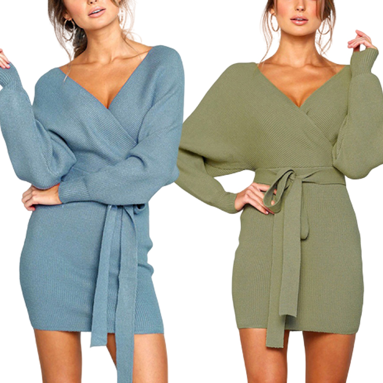 Private Label Autumn And Winter Fashion V-Neck Long Sleeve Tight Sexy Women Party Bodycon <strong>Dress</strong> Sweater <strong>Dress</strong>
