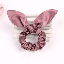 1 шт., однотонная резинка для волос, атласная веревка для волос, женские милые кроличьи ушки, эластичная резинка для волос, аксессуары для вол...(Китай)