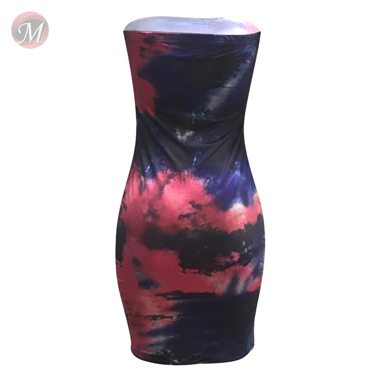 0043028 Newest design sexy short ladies dress strapless tie dye tube mini colorful print summer fashionable woman casual dress