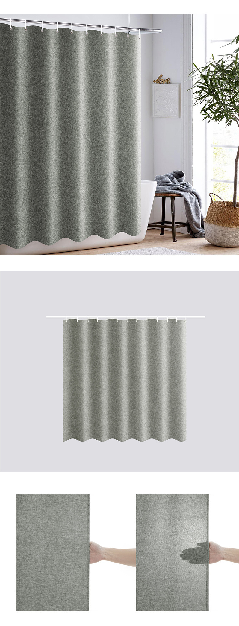 Solid Color Moisture-Proof Shower Curtain Polyester Linen Waterproof Bathroom Curtain