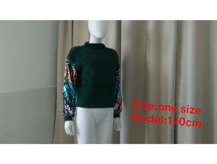 Korean Winter Lady's Sweater Sequins Long Sleeve Patchwork Pullover Fashion Mohair Turtleneck Knitted Sweaters Women