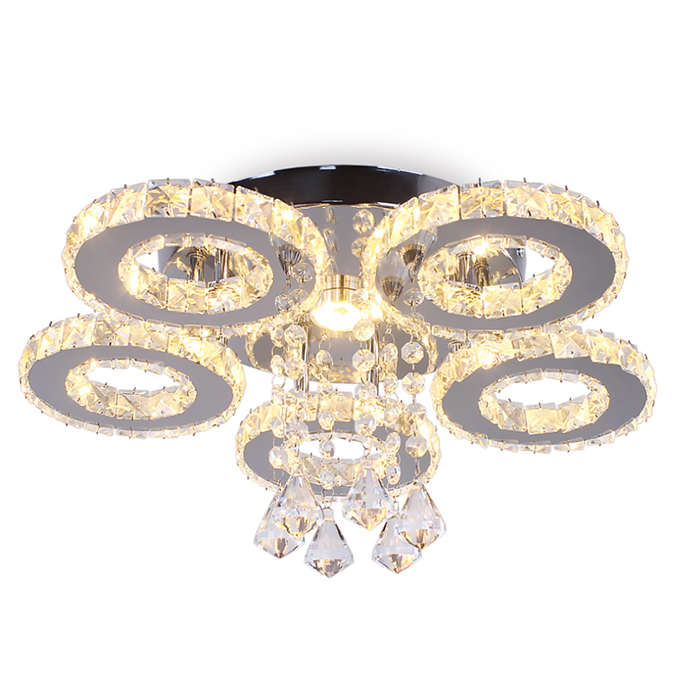 Modern 5 Rings Chandelier Luxury Led Ceiling Light Pendant Lights Crystal Lamps Luminaria for Dinning Room Kitchen MC029