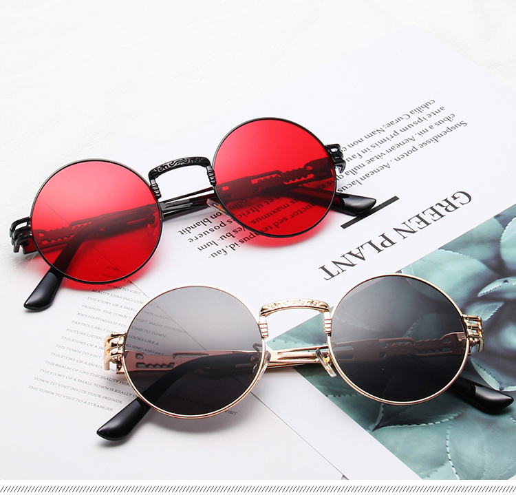 Customized Logo Retro Hollow Out Spring Hing Men Women Round Photochromic Sunglasses