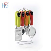 TPR easy to grip handle Stainless Steel kitchen gadgets cooking utensil tool set