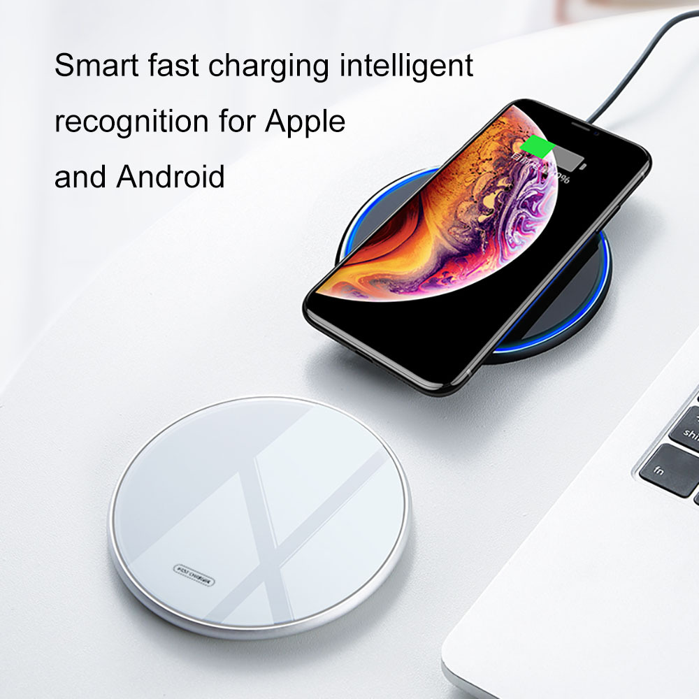 2019 Hot Sale OEM logo 10W Tempered Glass Fast Wireless Charger QI phone Wireless Charging Pad For Iphone Charger Wireless