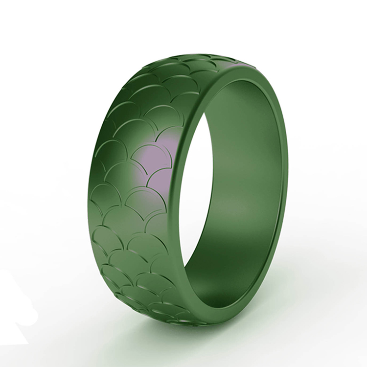8mm plaid pattern green black silicone rings outdoor sports wedding engagement ring