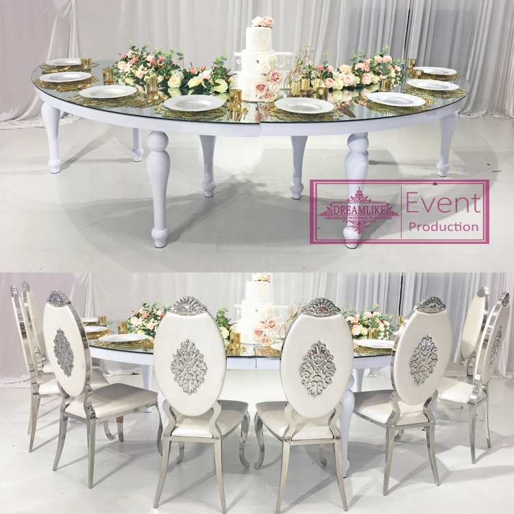 Modern luxury half moon white big round stainless steel dining table sets in dining tables