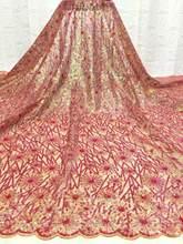 Новейшее красное молочное Шелковое кружево высокого качества французские сетчатые молочные шелковые шнурки ткани с блестками для нигерий...(Китай)