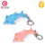 Promotional gift Plastic Dolphin Shape Led Light Keychain with cute voice