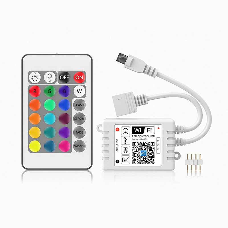 DC12V -24V 144W White Box Work With Google Assistant Amazon Alexa RGB IR 24 Keys WIFI <strong>Controller</strong> For RGB Strip Lights