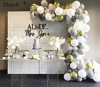 Grey White Gold Confetti Balloons Garland Arch Kits for Wedding Decoration Baby Shower Bachelorette Birthday Party SET608