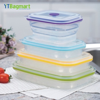 Rectangle ven Safe Bpa Free Reusable Platinum Collapsible Silicone Food Containers with Silicone Lid
