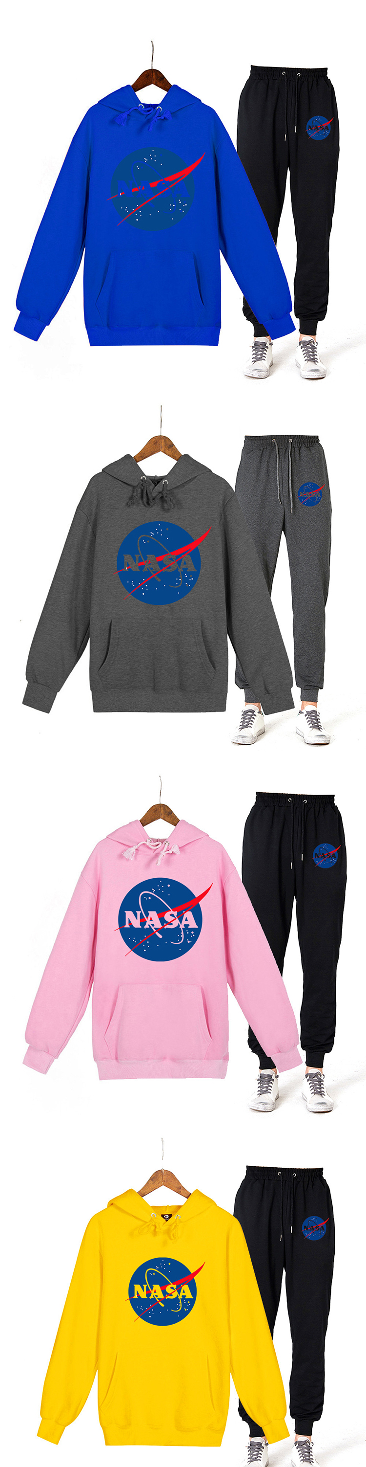 Trendy unisex couple wear polyester nasa printing 2 pieces set trousers and pullover hoodies