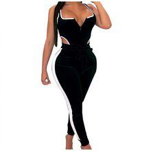 Womail, женский спортивный костюм, без рукавов, сексуальный, с открытой спиной, комплект из двух предметов, бархатный боди, топ, штаны, летний, 2 п...(Китай)