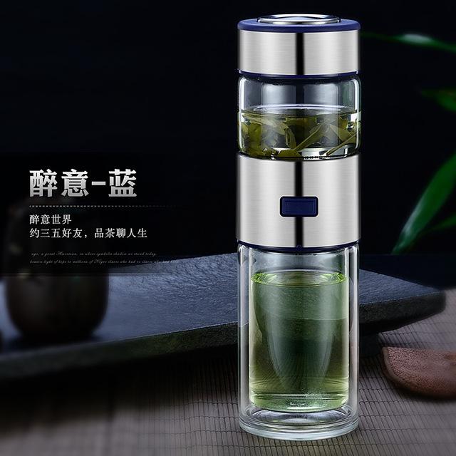 Термос-чашка из нержавеющей стали, термос для воды, вакуумная колба, Чайный фильтр, разделительная стеклянная кружка для путешествий, кофе, ...(Китай)