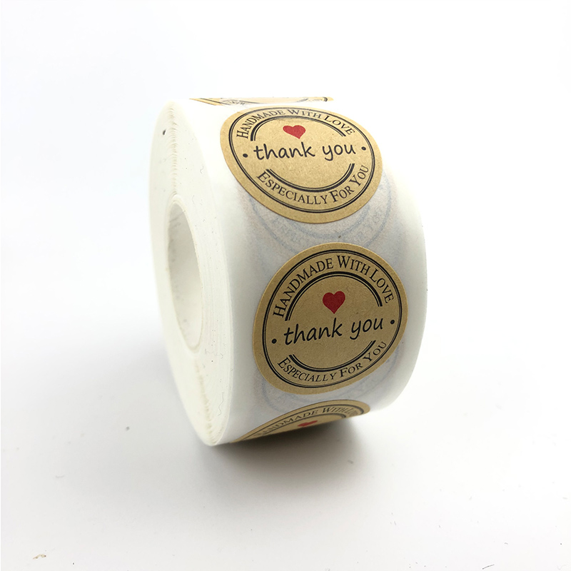 1in Kraft roll sticker thank you stickers 500/roll