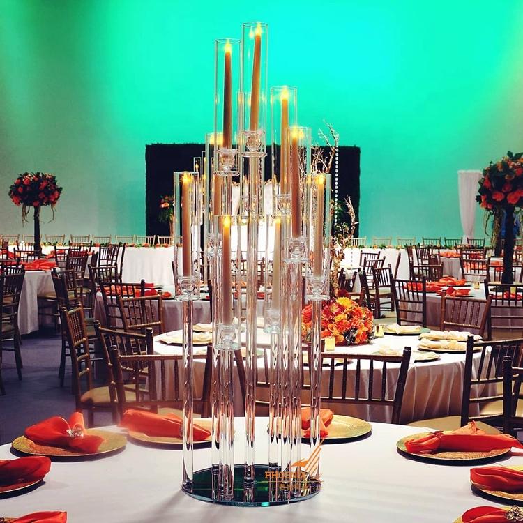 Tubo de vidro tampo da mesa decoração centrais candelabros de cristal do casamento suporte de vela 10 braços de altura barato com abajur para venda