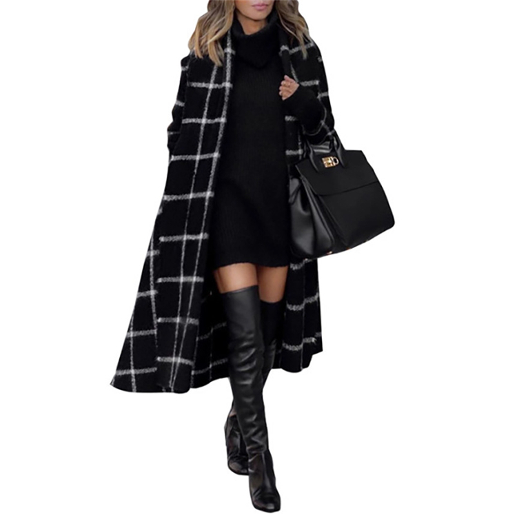 E92012 Women <strong>coat</strong> 2019 <strong>winter</strong> long sleeve <strong>fashion</strong> sexy plaid casual <strong>winter</strong> woollen <strong>coat</strong> wholesale Christmas <strong>coat</strong>