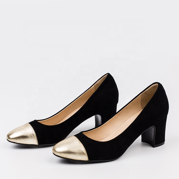 New product 2019 black pump elegant women mid <strong>heels</strong> shoes sale brazilian