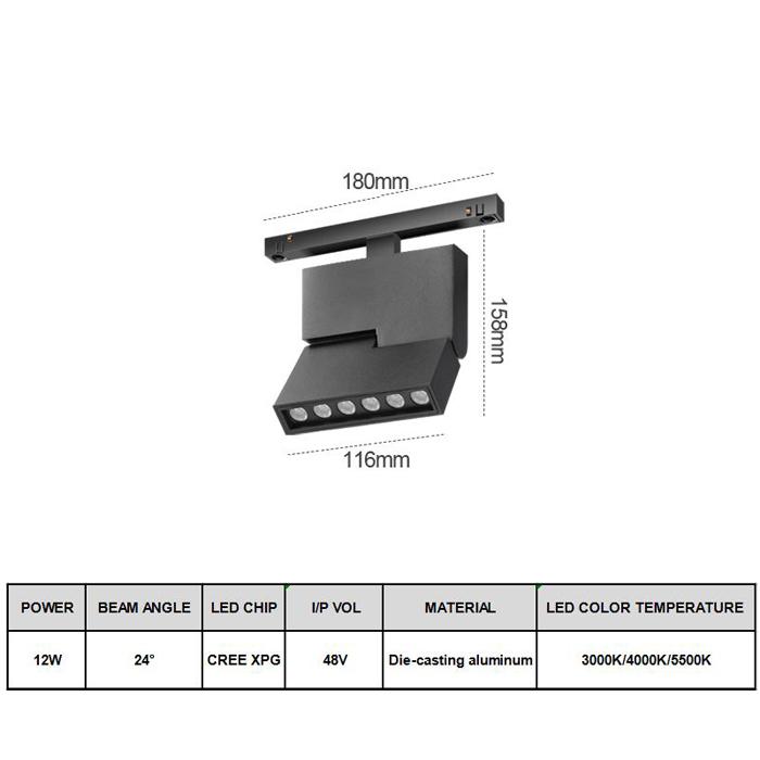 DC48V  Rail Magnetic Install High CRI 7W,20W Adjustable Led Track Light System