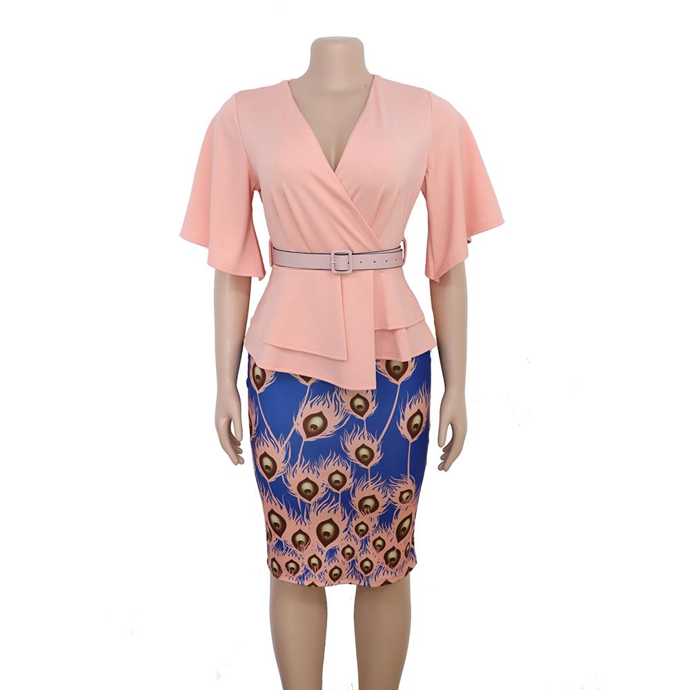 अतिरिक्त बड़े कपड़े वि गर्दन blet ढीला पैटर्न प्रिंट pericular के साथ कोट महिलाओं के वस्त्र एक्स्ट्रा लार्ज भड़क ड्रेस FM-98083