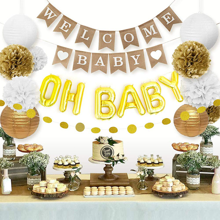 White Welcome Oh Baby Party Decorations