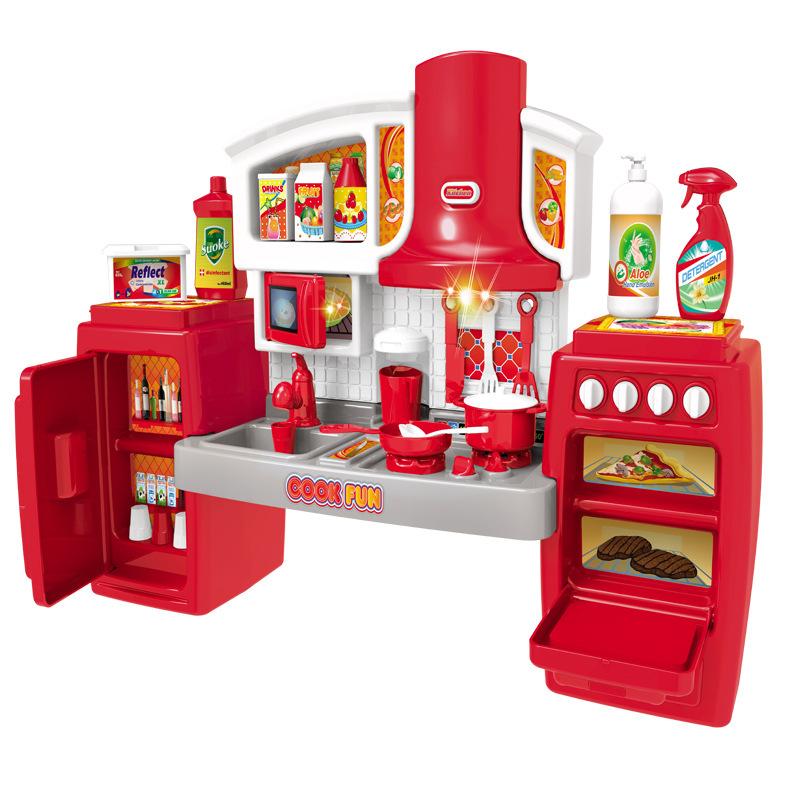 Wholesale 2020 children child girl happy kitchen cabinet toys cooking play house pretend set utensils kids led light