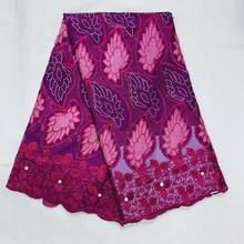 Фиолетовая Африканская Хлопковая кружевная ткань для свадебного платья 2020 высокое качество хлопчатобумажная африканская Кружевная Ткань ...(Китай)