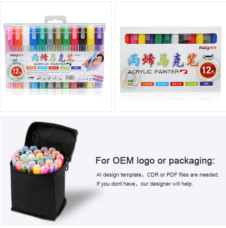 12pcs/set Hot Items support OEM acrylic paint markers set acrylic marker pen