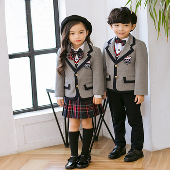 Cosplay Shows Coat with Shirt Tie Pants Mini Skirt Set Kids Boys Girls British Style School Uniform Anime Costume Suit