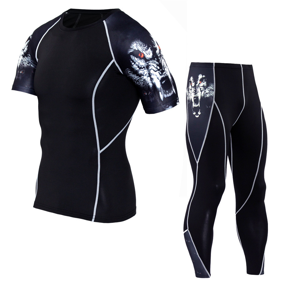 Men Sportswear Compression Sport Suits Quick Dry Running Sets Clothes Sports Joggers Training Gym Fitness Tracksuits Running Set 2
