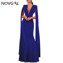 Novgirl/элегантное платье с глубоким v-образным вырезом и рукавами-крылышками, с воротником-шалью, с разрезом, макси-платье русалки, облегающее ...(Китай)