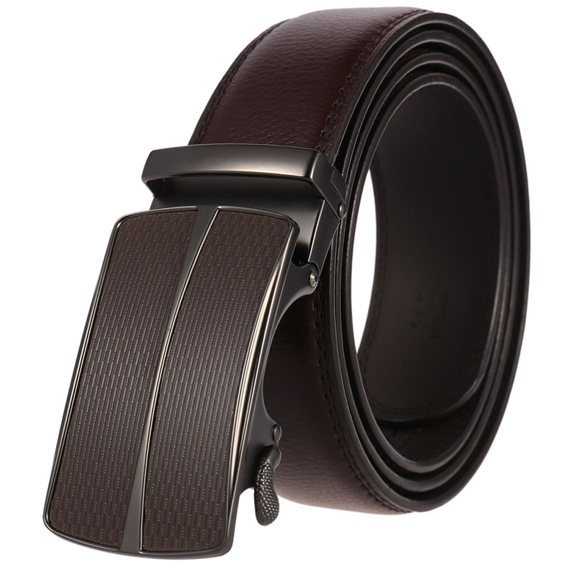 Leather man's automatic belts for men cow hide laser logo ratchet belt