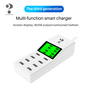 40W socket 8-hole portable USB multi-function smart charger with screen display EU