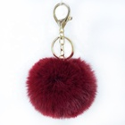 Artificial Plush Colorful Ball Keychain,8cm Faux Fur Keychain Puff Ball For Lady Bags ,Plush Ball Pendant