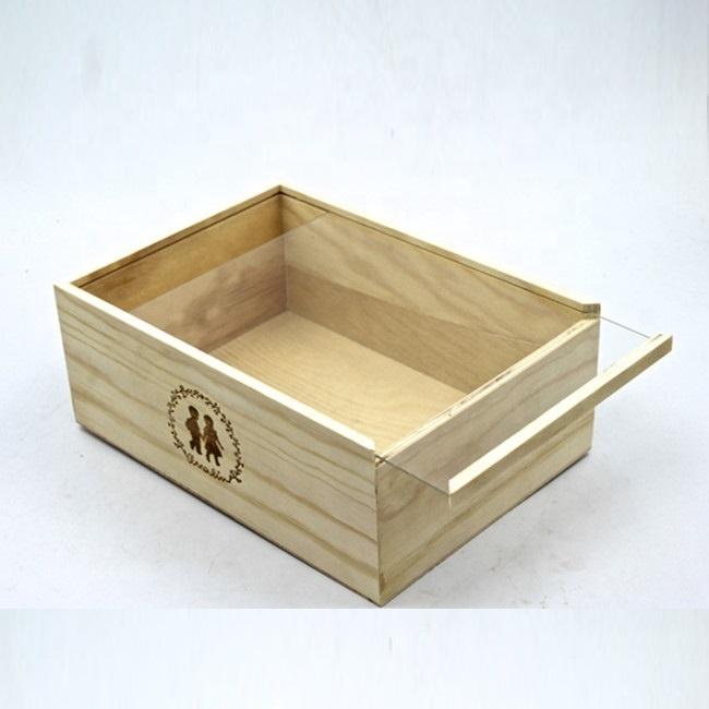 Luxury Laser Engrave Transparent Sliding Lid Wood Storage Box