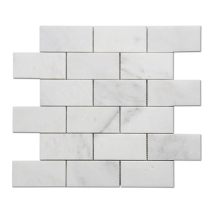 Samistone Statuary White Marble Brick Mosaic Tiles for Wall Bathroom Floor