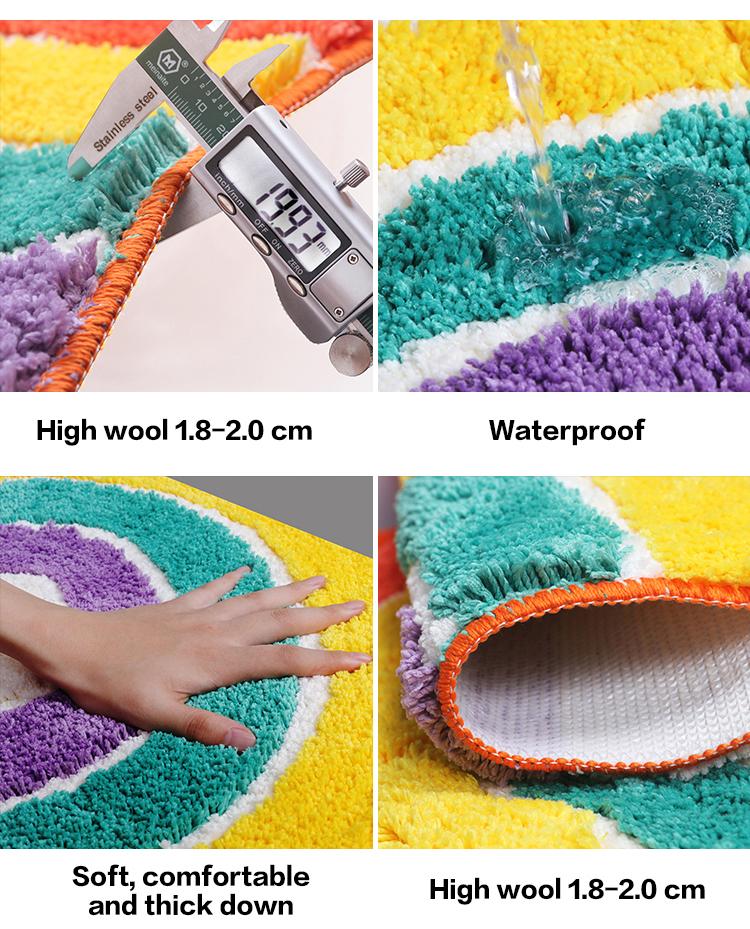 Özel şekil ev mal komik gökkuşağı renk kolay yıkama banyo halı mikrofiber banyo paspas küvet